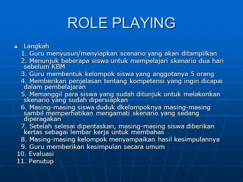 ROLE PLAYING Langkah. 1. Guru menyusun/menyiapkan scenario yang akan ditampilkan.