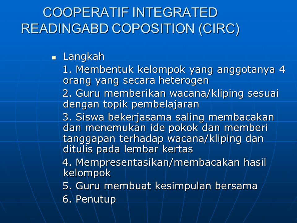 COOPERATIF INTEGRATED READINGABD COPOSITION (CIRC)