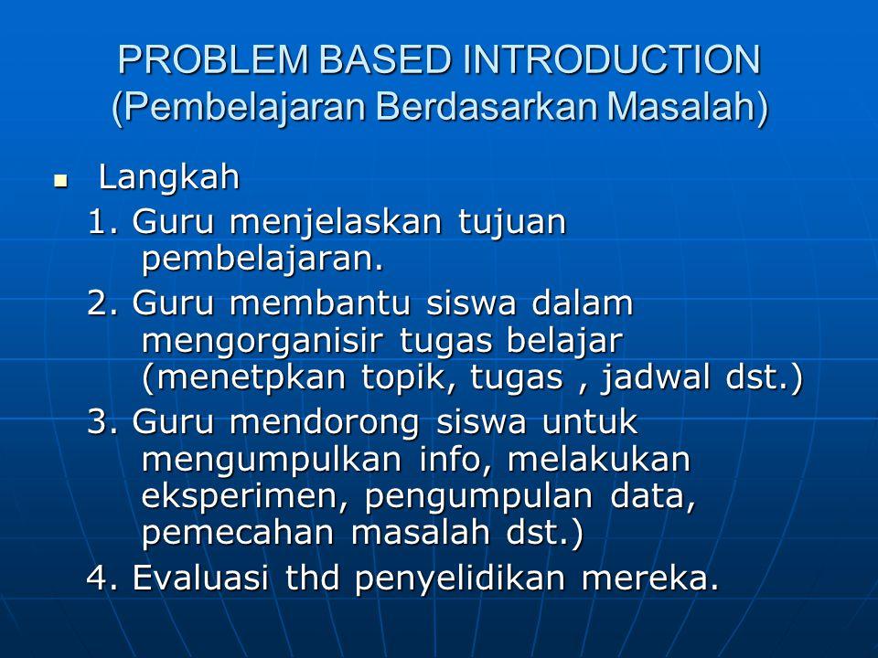 PROBLEM BASED INTRODUCTION (Pembelajaran Berdasarkan Masalah)