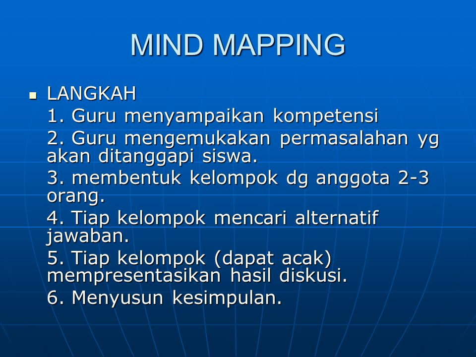 MIND MAPPING LANGKAH 1. Guru menyampaikan kompetensi