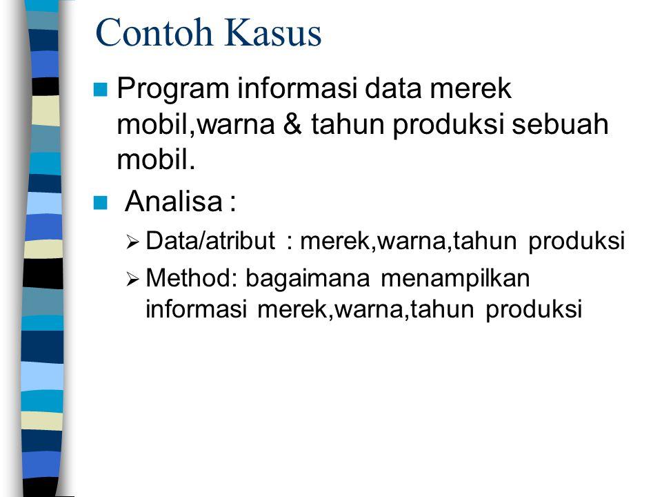 Contoh Kasus Program informasi data merek mobil,warna & tahun produksi sebuah mobil. Analisa : Data/atribut : merek,warna,tahun produksi.