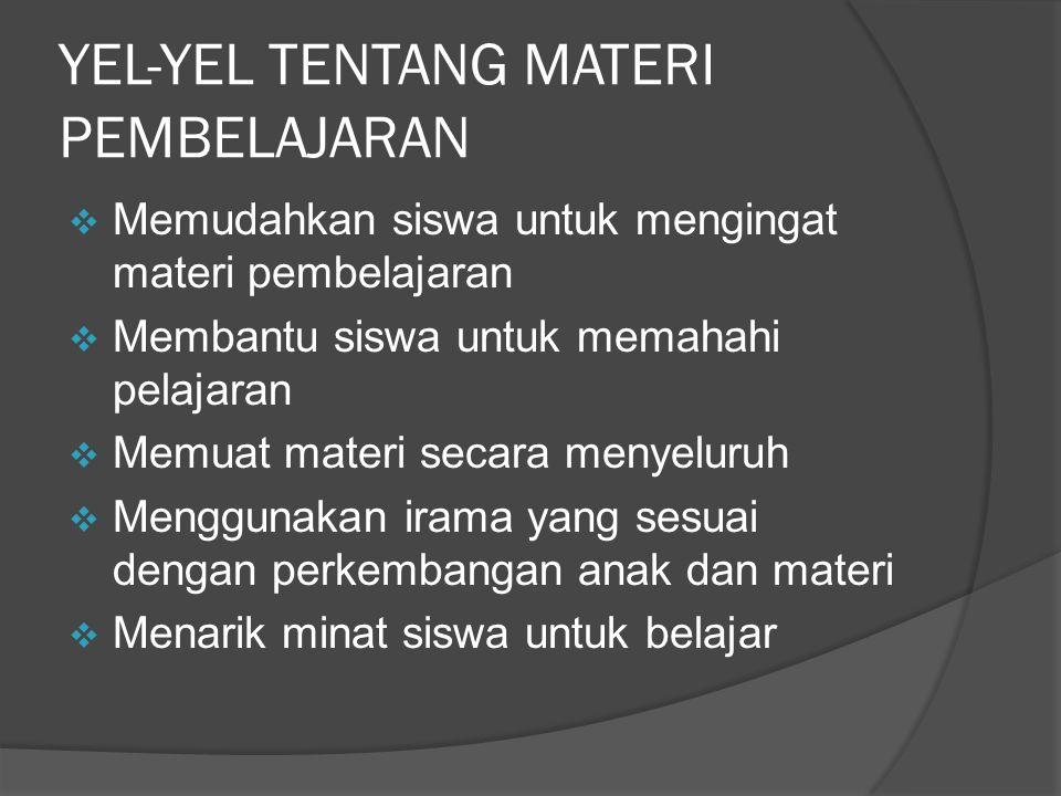 YEL-YEL TENTANG MATERI PEMBELAJARAN
