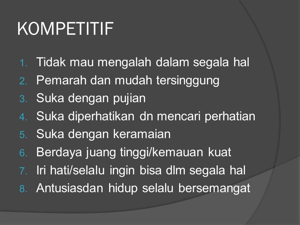 KOMPETITIF Tidak mau mengalah dalam segala hal