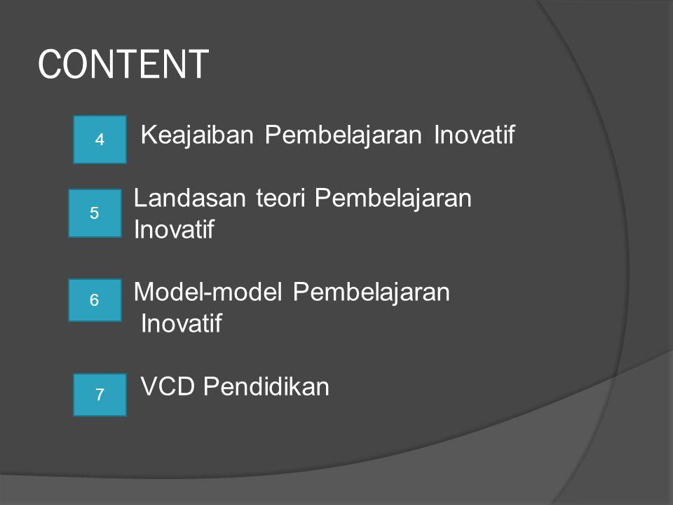 CONTENT Keajaiban Pembelajaran Inovatif Landasan teori Pembelajaran Inovatif Model-model Pembelajaran VCD Pendidikan