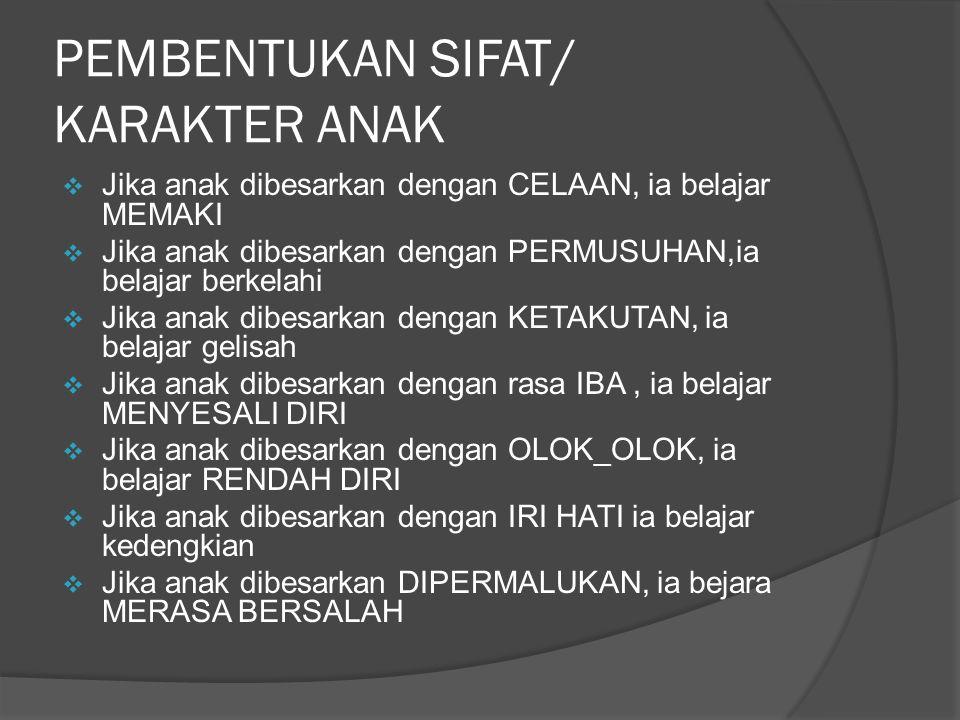 PEMBENTUKAN SIFAT/ KARAKTER ANAK