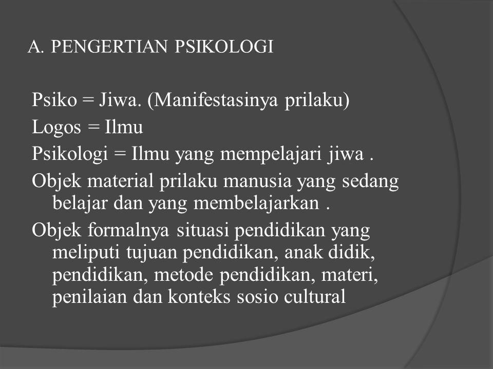 A. PENGERTIAN PSIKOLOGI
