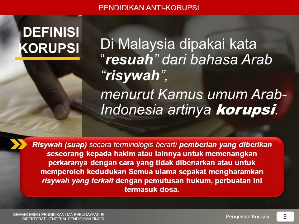 Di Malaysia dipakai kata resuah dari bahasa Arab risywah ,