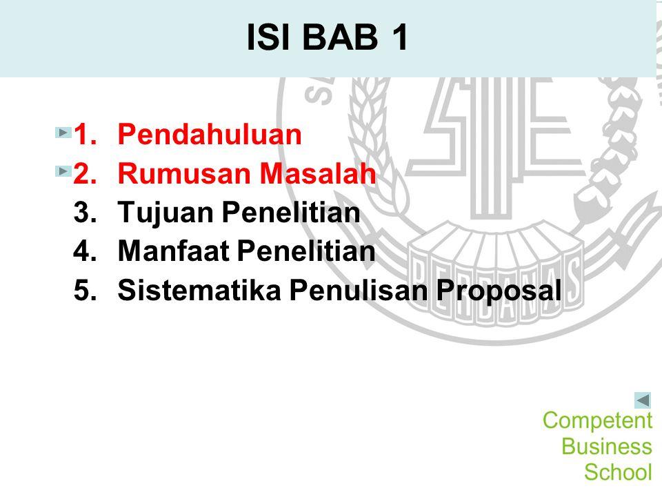 ISI BAB 1 Pendahuluan Rumusan Masalah Tujuan Penelitian