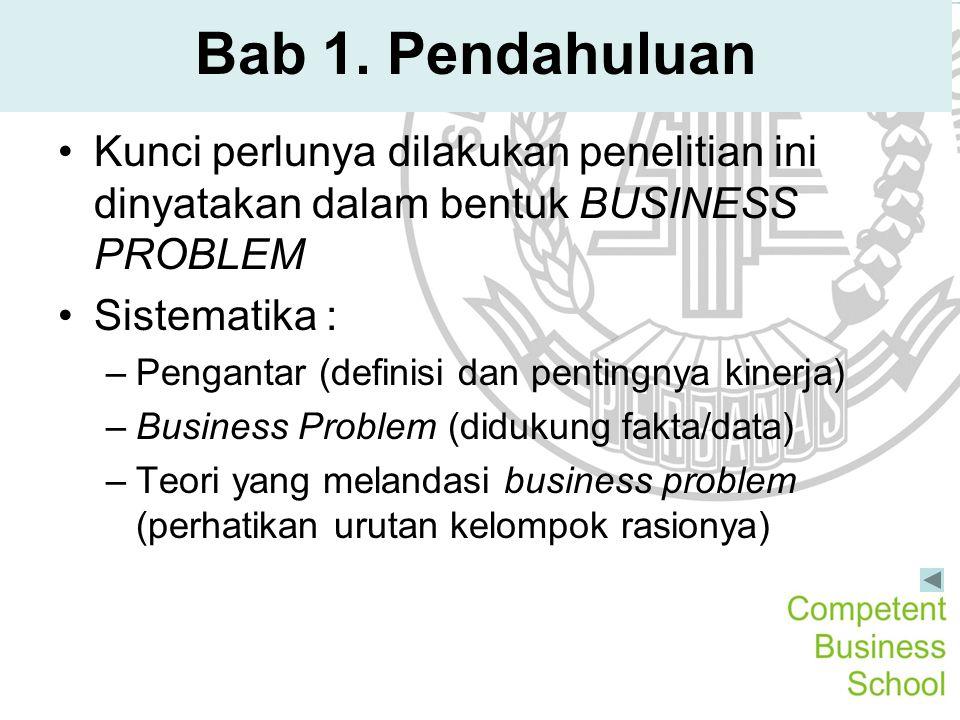 Bab 1. Pendahuluan Kunci perlunya dilakukan penelitian ini dinyatakan dalam bentuk BUSINESS PROBLEM.