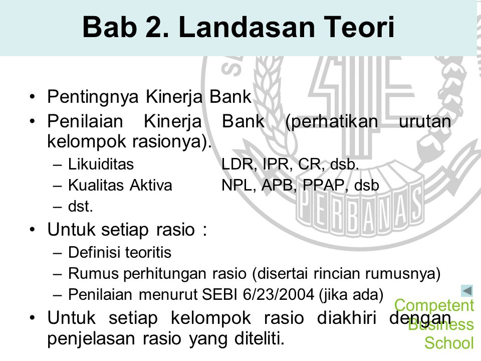 Bab 2. Landasan Teori Pentingnya Kinerja Bank