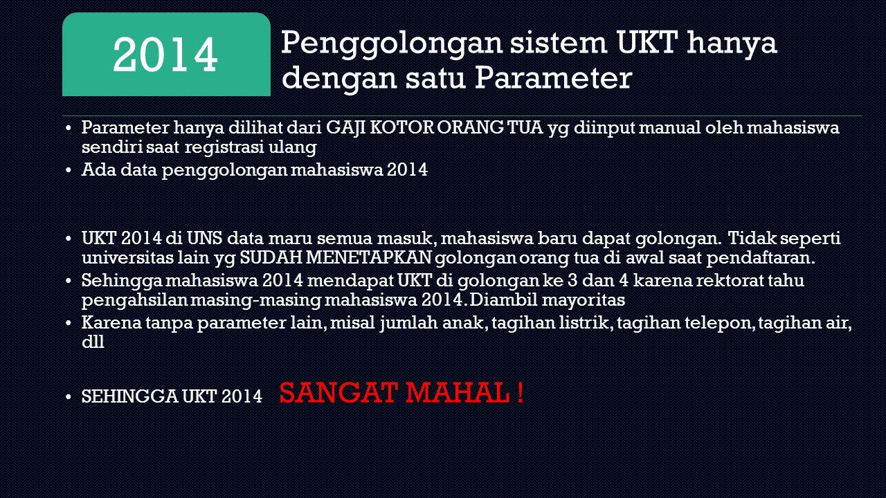 2014 Penggolongan sistem UKT hanya dengan satu Parameter