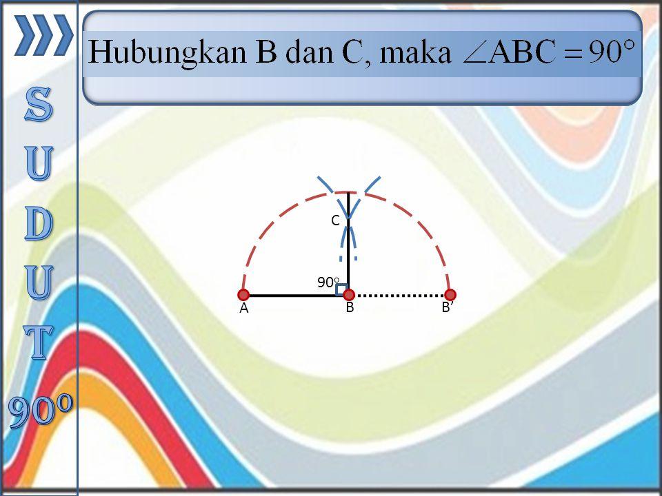 Buat busur lingkaran berpusat di titik B sehingga memotong perpanjangan AB di titik B'