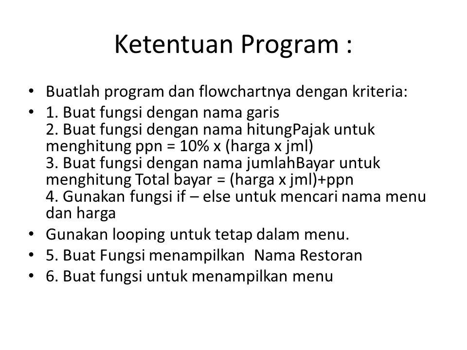 Ketentuan Program : Buatlah program dan flowchartnya dengan kriteria: