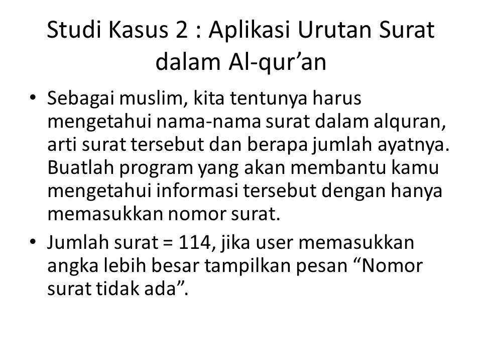Studi Kasus 2 : Aplikasi Urutan Surat dalam Al-qur'an
