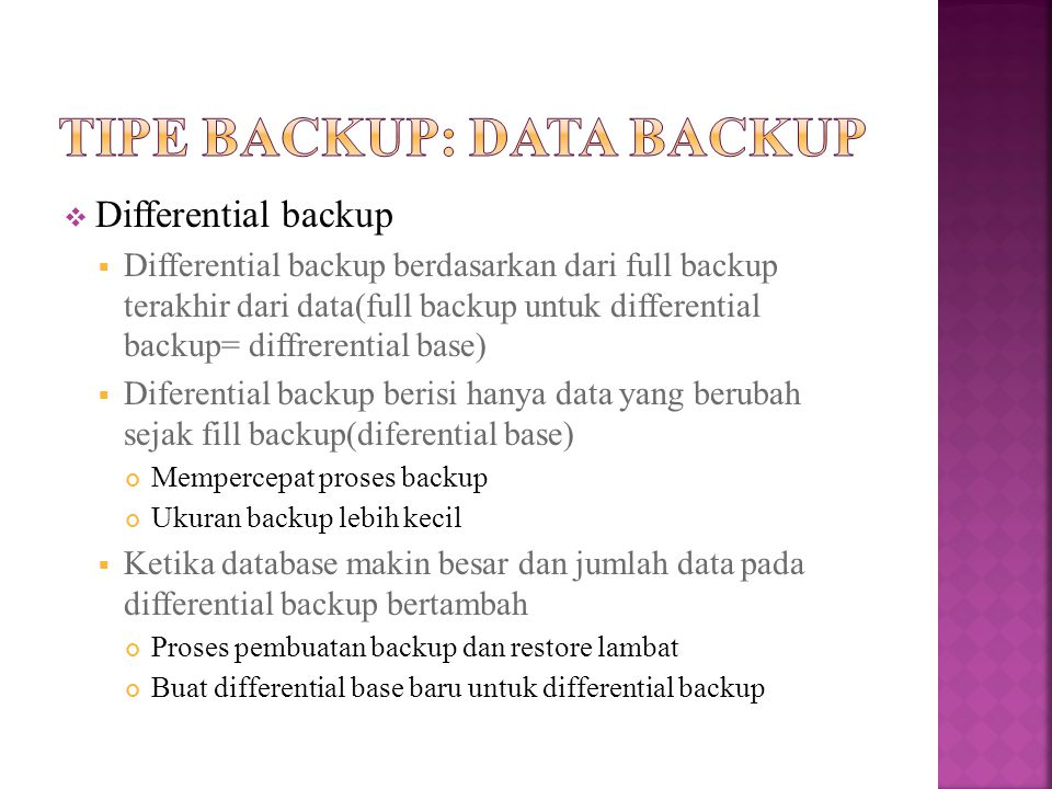 Tipe backup: data backup