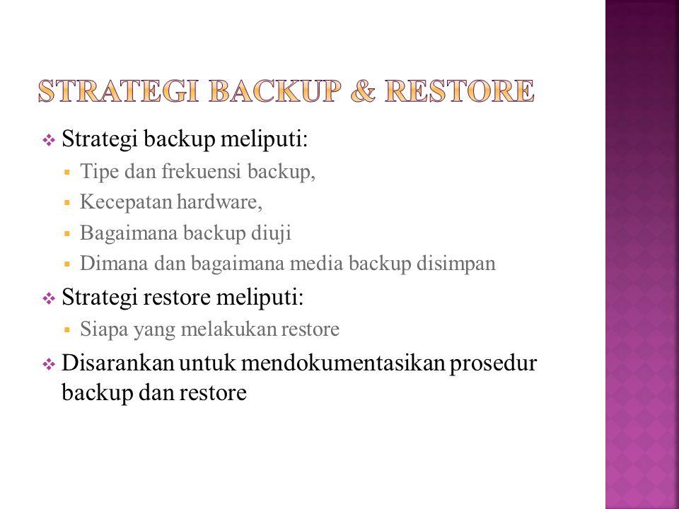 Strategi backup & Restore