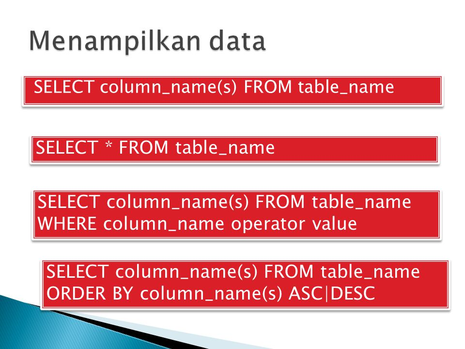 Menampilkan data SELECT * FROM table_name