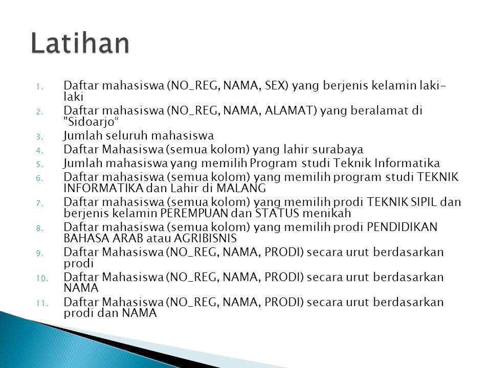 Latihan Daftar mahasiswa (NO_REG, NAMA, SEX) yang berjenis kelamin laki- laki. Daftar mahasiswa (NO_REG, NAMA, ALAMAT) yang beralamat di Sidoarjo