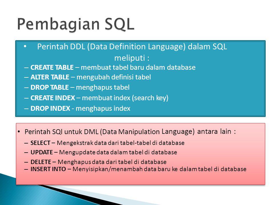 Perintah DDL (Data Definition Language) dalam SQL meliputi :