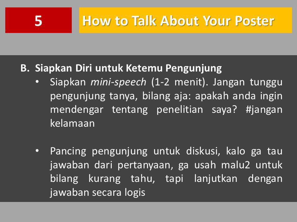 5 How to Talk About Your Poster