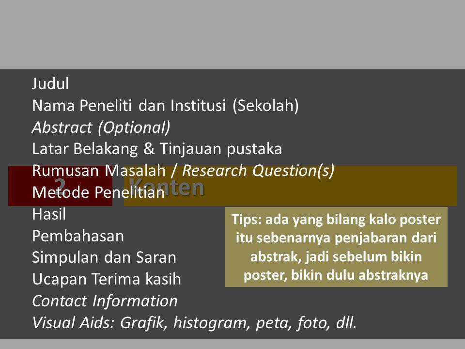 2 Konten Judul Nama Peneliti dan Institusi (Sekolah)