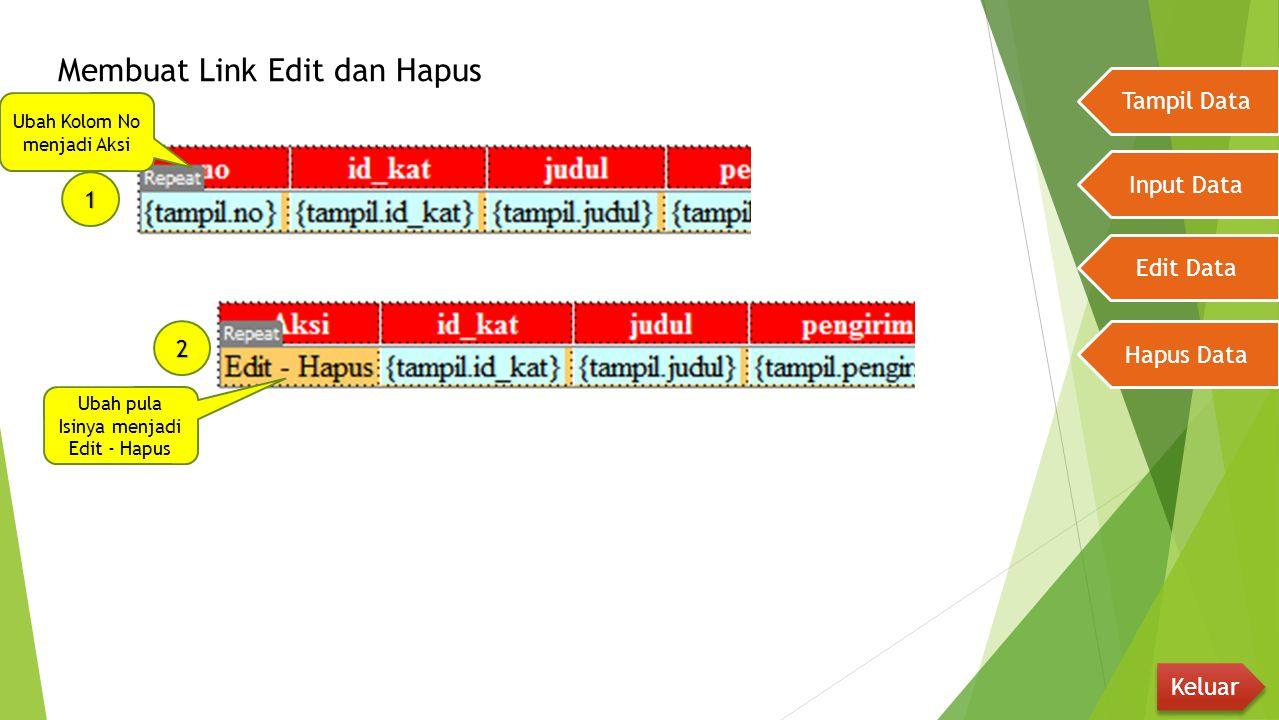 Membuat Link Edit dan Hapus