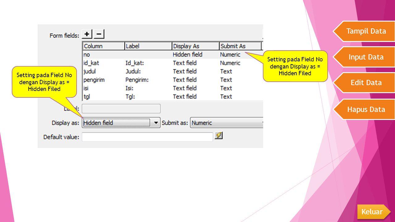 Tampil Data Input Data Edit Data Hapus Data Keluar