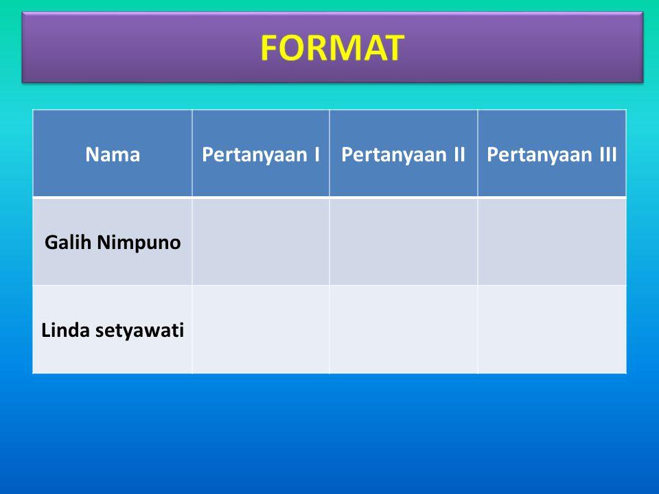 FORMAT Nama Pertanyaan I Pertanyaan II Pertanyaan III Galih Nimpuno
