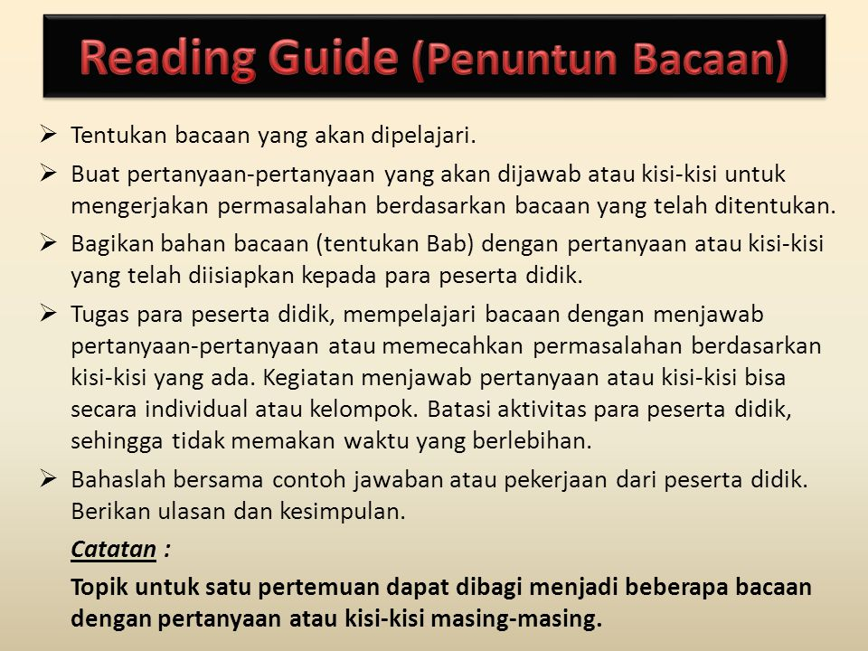 Reading Guide (Penuntun Bacaan)
