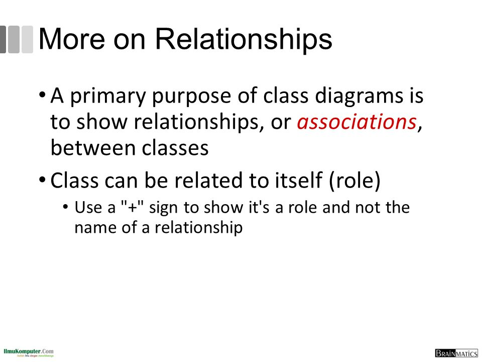 More on Relationships A primary purpose of class diagrams is to show relationships, or associations, between classes.