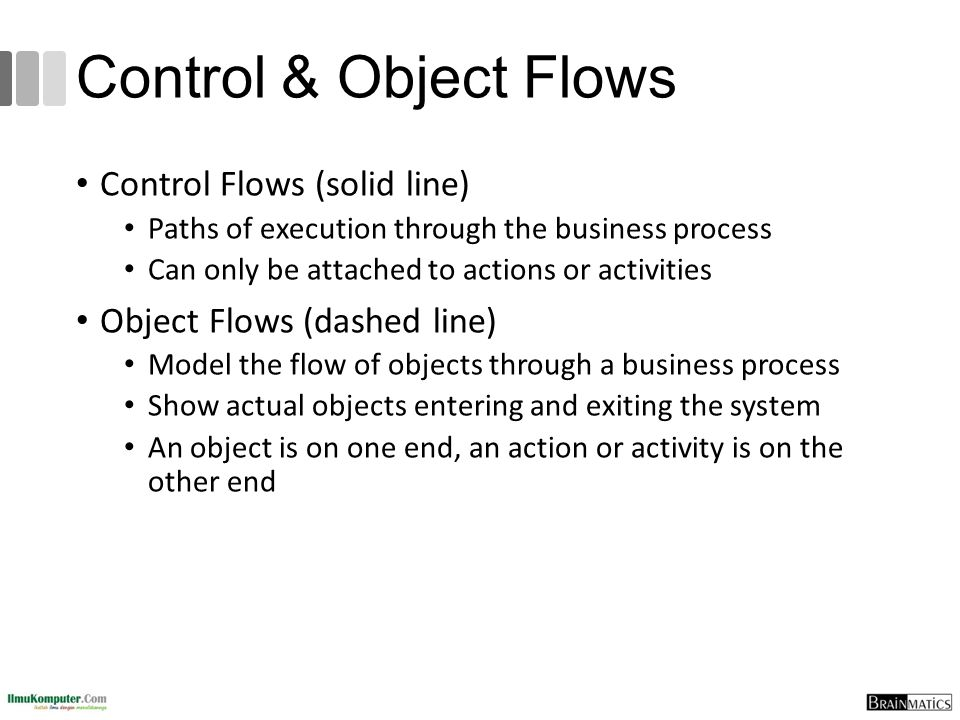 Control & Object Flows Control Flows (solid line)