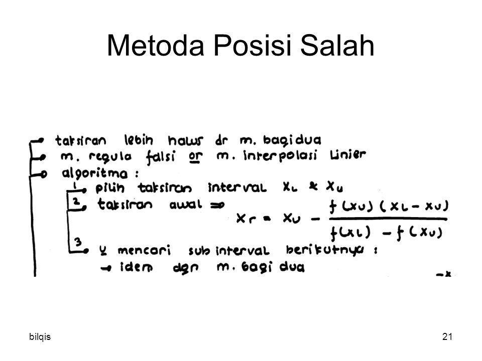 Metoda Posisi Salah bilqis