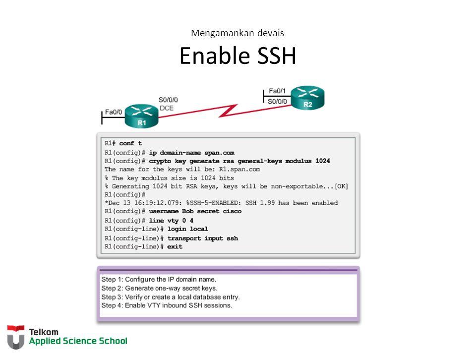 Mengamankan devais Enable SSH