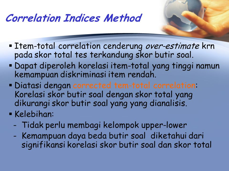 Correlation Indices Method