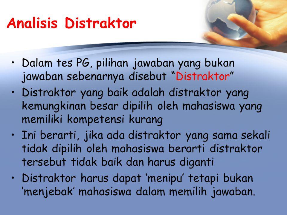 Analisis Distraktor Dalam tes PG, pilihan jawaban yang bukan jawaban sebenarnya disebut Distraktor