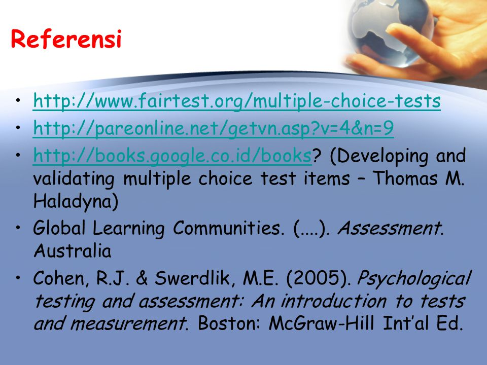 Referensi http://www.fairtest.org/multiple-choice-tests