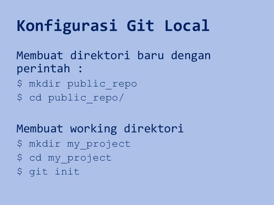 Konfigurasi Git Local Membuat direktori baru dengan perintah :