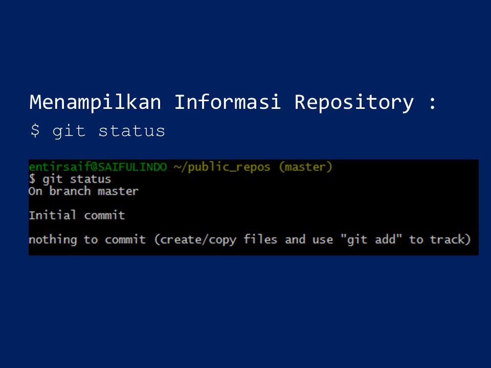 Menampilkan Informasi Repository :