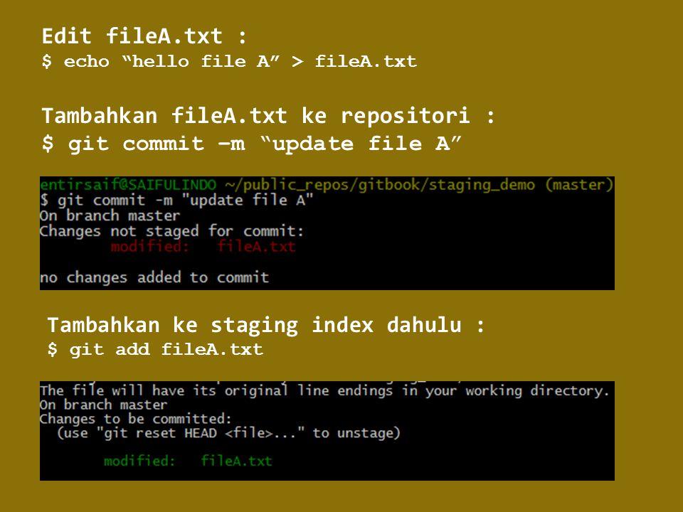 Tambahkan fileA.txt ke repositori :
