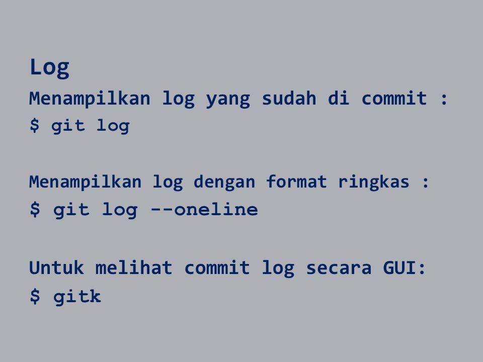 Log Menampilkan log yang sudah di commit : $ git log --oneline