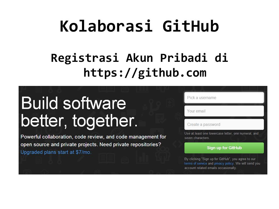 Registrasi Akun Pribadi di https://github.com