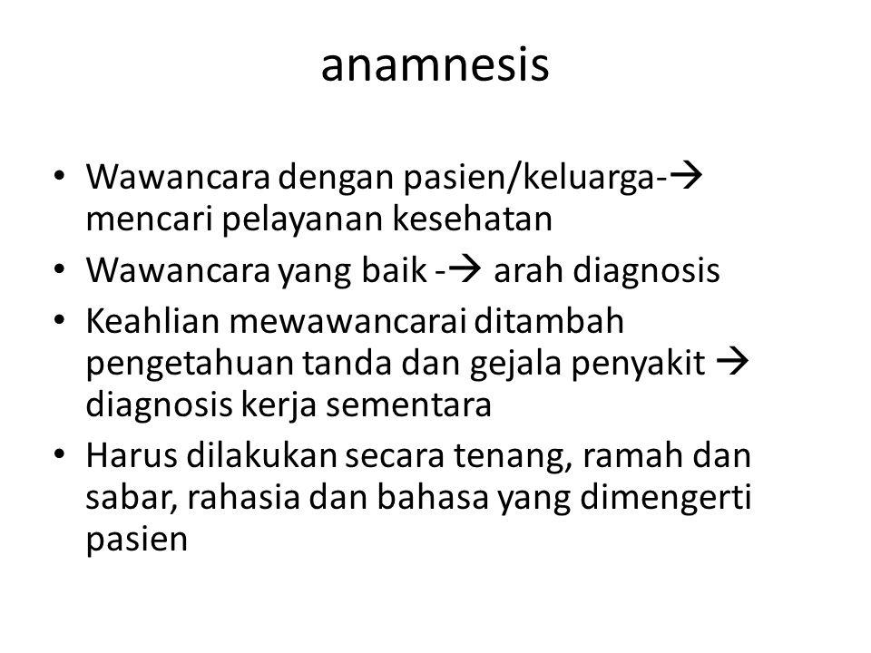 anamnesis Wawancara dengan pasien/keluarga- mencari pelayanan kesehatan. Wawancara yang baik - arah diagnosis.