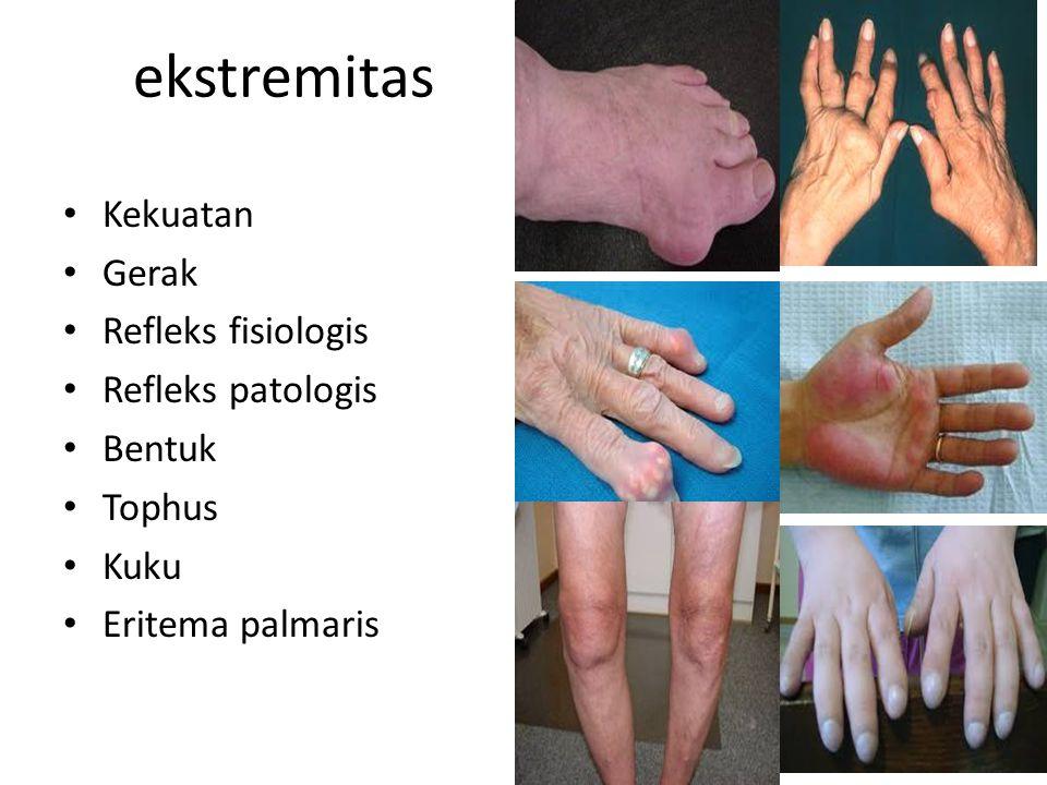 ekstremitas Kekuatan Gerak Refleks fisiologis Refleks patologis Bentuk
