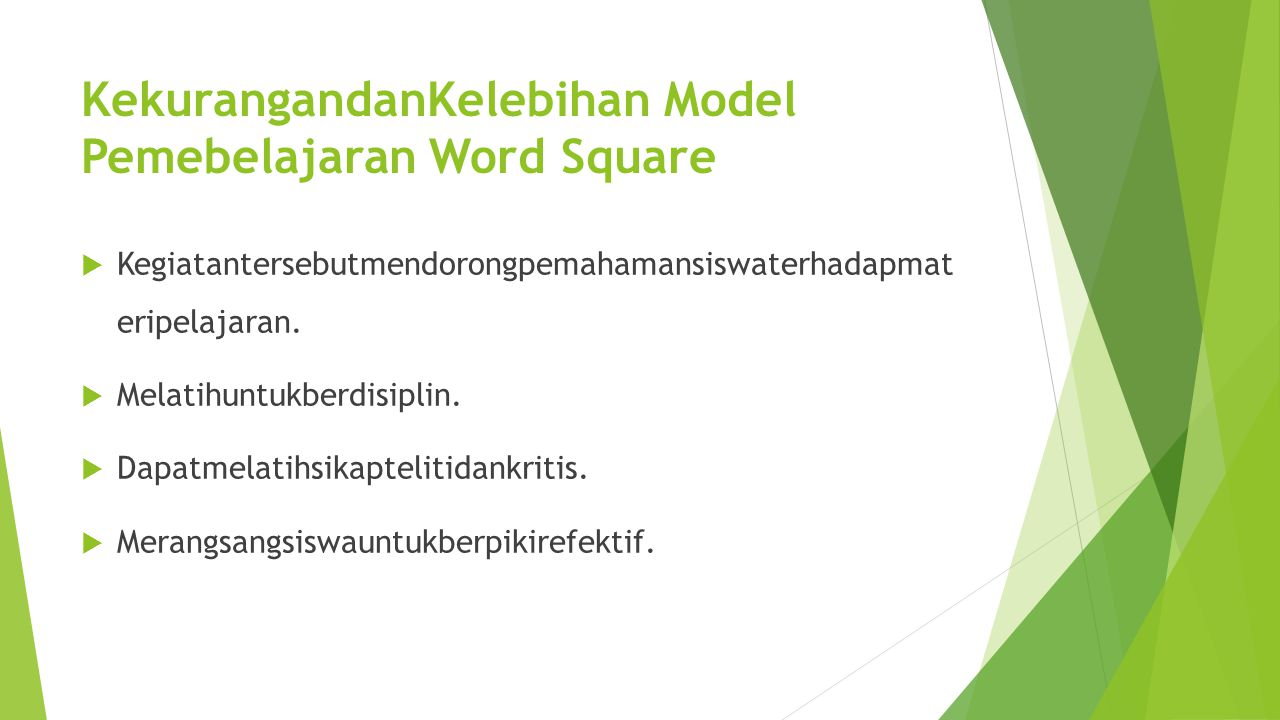KekurangandanKelebihan Model Pemebelajaran Word Square