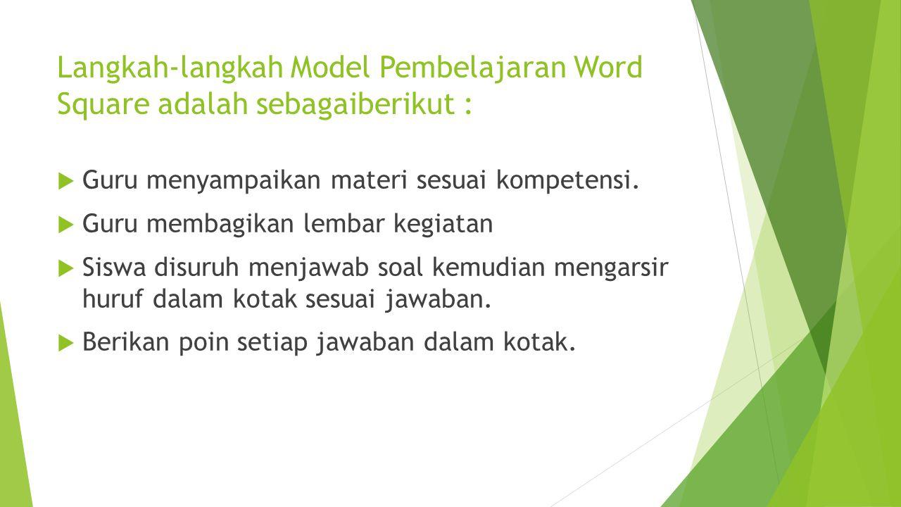 Langkah-langkah Model Pembelajaran Word Square adalah sebagaiberikut :