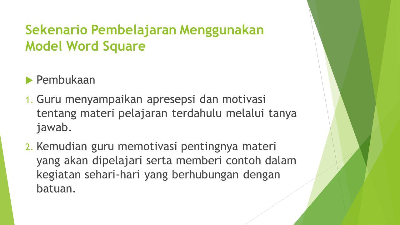 Sekenario Pembelajaran Menggunakan Model Word Square
