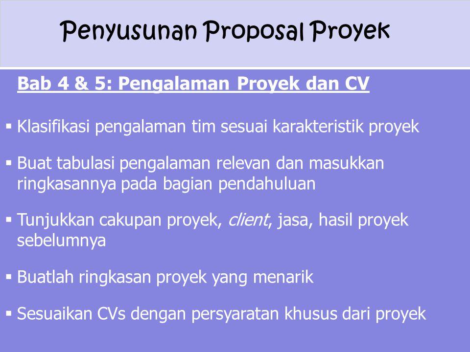 Bab 4 & 5: Pengalaman Proyek dan CV