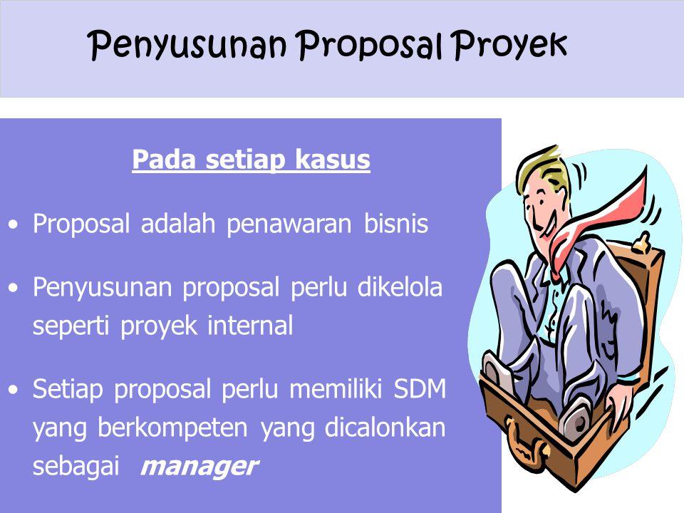 Pada setiap kasus Proposal adalah penawaran bisnis. Penyusunan proposal perlu dikelola seperti proyek internal.
