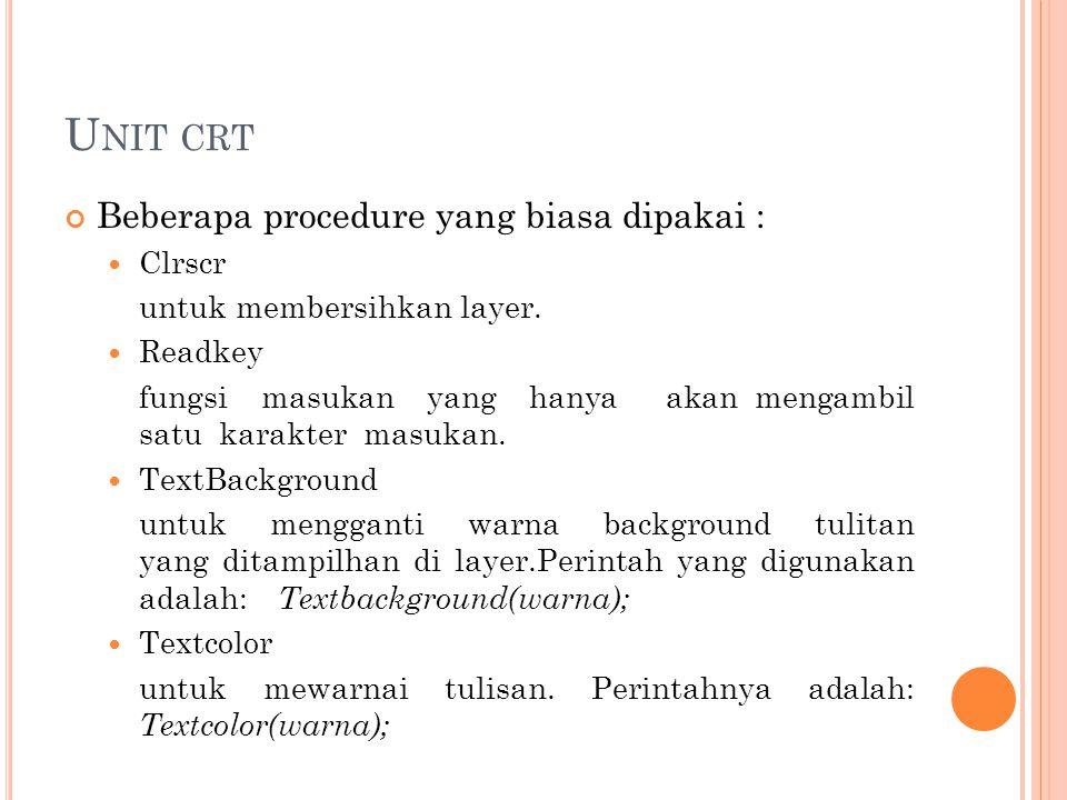 Unit crt Beberapa procedure yang biasa dipakai : Clrscr