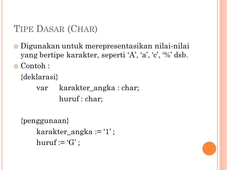 Tipe Dasar (Char) Digunakan untuk merepresentasikan nilai-nilai yang bertipe karakter, seperti 'A', 'a', 'c', '%' dsb.